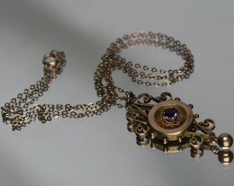 Vintage Gold Tone and Glass Stone Pendant with GF Chain
