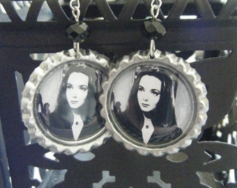 Morticia Addams The Addams Family inspired bottle cap earrings with black glass beads