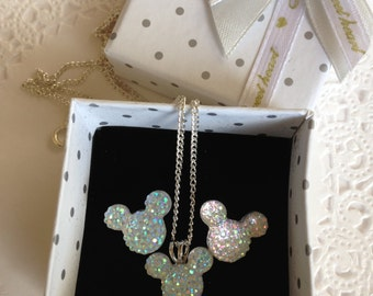 MOUSE EARS Necklace and Earrings Set for Themed Wedding Party in Dazzling Clear AB Acrylic or Choose Colors