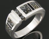 Men's Dinosaur Bone Ring with Black Diamonds and Black Onyx in Sterling Silver by Hileman Silver Jewelry