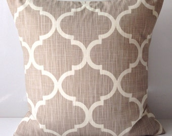 Decorative Throw Pillow Cover Neutral Pillow Cushion Accent Pillow Taupe Pillow Lattice