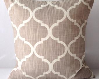 Decorative Throw Pillow Cover Neutral Pillow Cushion Accent Pillow Taupe Pillow Lattice
