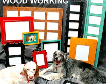 Picture frame color choices from 2 Dogs Wood Working Whimsical, Shabby Colored Barnwood, Traditional Multi opening Picture frames