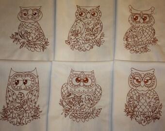 Redwork Owls Machine Embroidered Quilt Blocks Set A