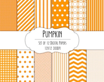Pumpkin Orange Digital Scrapbook Paper 12x12 Pack - Set of 12 - Polka Dots, Chevron, Gingham - Instant Download - Item# 8013