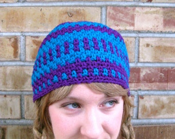 SALE-- NOW 14.00-- Electric Blue and Purple Kitschy Beanie, size M/L