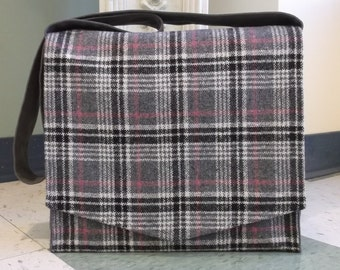 Grey Black & Pink Wool Plaid Messenger Bag