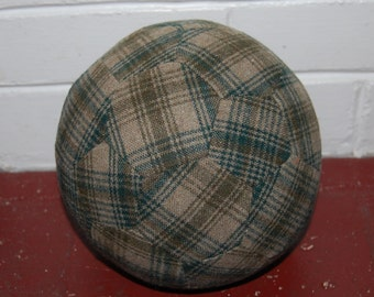Fabric Soccer Ball- Green Plaid Wool