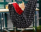 Baby hammock - A crib  for babies and Swinging seat for kids.  Black and White Polka Dot and Crimson Red Classic Zaza Hammock