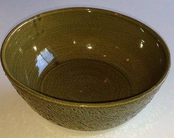 Item 84 Olive Green Textured Bowl