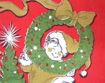 Vintage Towel Mid Century Christmas Angels Hilary Knight Eloise Illustrator