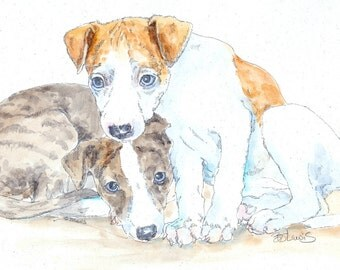 WHIPPET PAIR Original Watercolor on Ink Print Matted 11x14 Ready to Frame
