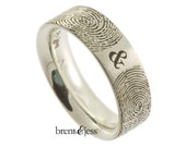 You & Me Forever Fingerprint Wedding Ring in Sterling Silver