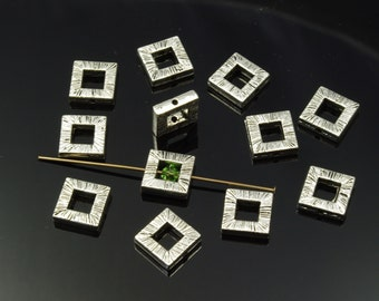 Pewter Silver Plated Antiqued Striated Square Bead Frames 10mm - 12