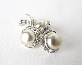 Vintage Glass Rhinestone Buttons Silver Pearl Shank Czech 12mm but0225 (4)