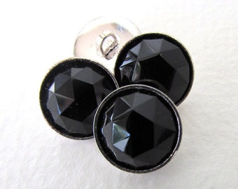 Vintage Glass Buttons Black Faceted Silver Shank Czech 13mm but0256 (4)