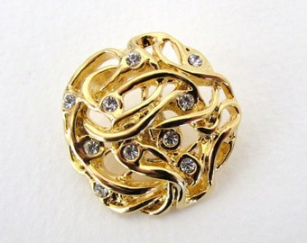 Vintage Rhinestone Buttons Crystal Clear Gold Metal Shank Czech 30mm but0255 (1)