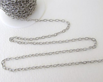 Antiqued Silver Ox Chain Cable Textured Oval Soldered Links Nunn Design 4x3mm chn0144 (1 foot)