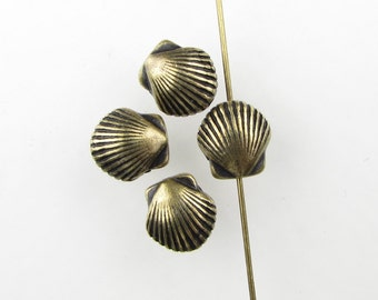 Seashell Bead Antiqued Brass Ox TierraCast Clam Shell Metal Bronze Finding 9mm cmb0053 (4)