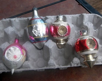 Group of 4 Glass Christmas Ornaments with Star Burst Design 1