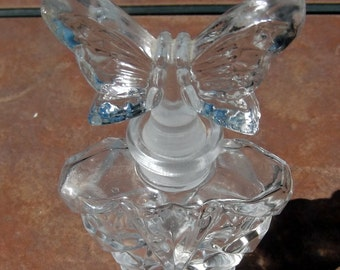 Crystal Perfume Bottle with Butterfly Stopper