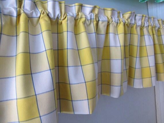 Blue Yellow Window Pane Plaid Valance Whimsical Kitchen