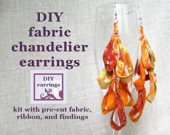 earrings kit - DIY fabric chandelier earrings kit with pre-cut fabric