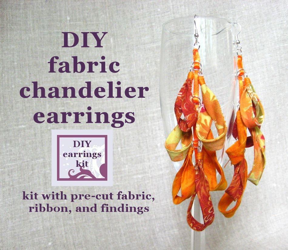 Earrings kit diy fabric chandelier earrings kit with pre cut - Diy chandelier kit ...