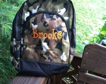 Embroidered Personalized Monogrammed Back Pack Book Bag Boys Camo Military Hunter