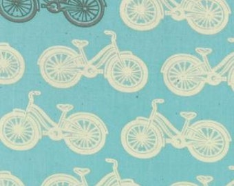 SALE Little Things Organic collection from Moda Bikes on blue 1 yard