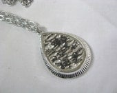 Vintage Silver & black reversible TRANQUILITY  pendant  by Sarah Coventry