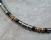 Hematite Necklace for Men with Bronzed Glass and Wood Jasper Gemstones 20-22 inches