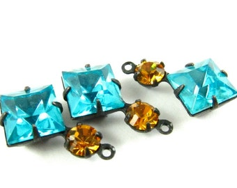 2 - Vintage Glass Square and Round Stones in 1 Ring 2 Stones Black Antique Brass Prong Settings - Dark Aqua & Topaz - 18x11mm