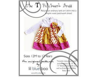 DIY PDF Pattern and Tutorial - T Patchwork Dress - Sizes 12M to 12 Years