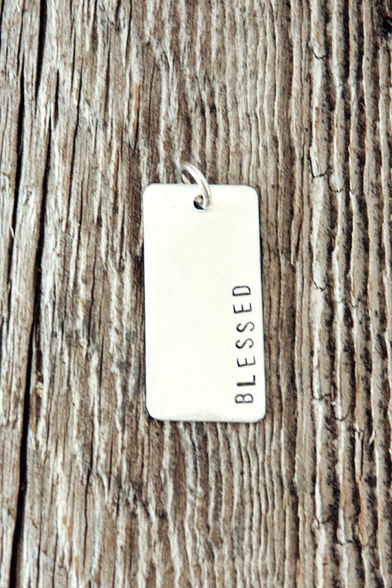 Large Rectangle Sterling Silver Charm, Stamped Charm, Sterling Silver Charms for Bracelets, Rectangular Charm