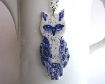 Owl  necklace - Hand painted blue and white porcelain