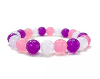Cute Stretch Bracelet Kawaii Elastic Jewelry Lolita Fairy Kei Retro Bracelet for Teens Women Stretch Round Beaded Bracelet Pink Purple White