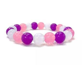 Cute Stretch Bracelet Kawaii Elastic Jewelry Lolita Fairy Kei Retro Bracelet for Teens Women Stretch Round Beaded Bracelet Pink Purple White
