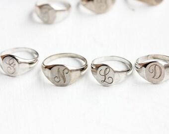 Sterling Silver Signet Ring - b, c, d, e, f, g, h, l, m, n, o, p, r, s, t, v