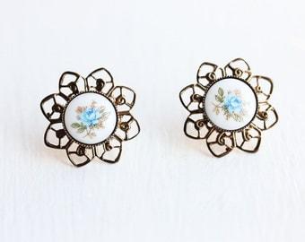 Blue Flower Filigree Earrings