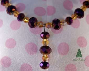 "Purple and Citrine Crystal Necklace  ""In a Midnight Garden"""