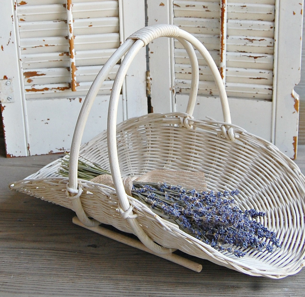 Rattan Flower Baskets : Vintage gathering basket flower wicker