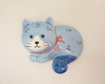 Vintage Cat Ceramic Hook  - Blue Calico Floral Cat Decorative Wall Hook - Kids Nursery Cat Wall Hook - Ceramic Cat made by Otagiri in Japan