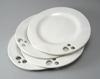 Set of Four White Plates-White Pottery Dish-Tableware-Slab Built-Circle Pattern-Classic White Glaze-Stoneware-Oven and Dishwasher Safe
