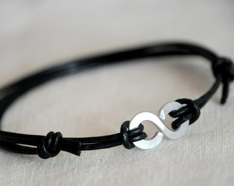 Infinity Bracelet - Black Leather and Aluminium - personalised leather anniversary gift for him and Unisex