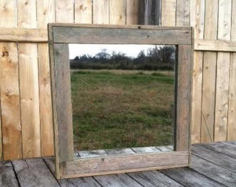 Rustic Decor -  Reclaimed Wood Mirror - Man Cave - Industrial Rustic Mirrors