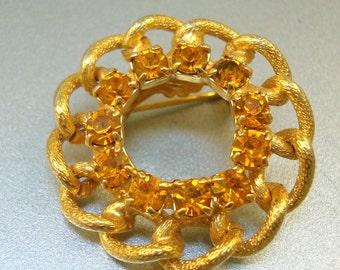 Amber Rhinestone Circle Pin