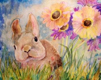 Original Painting, Bunny, Rabbit, Gerber Daisies, Nursery, Fine Art, Catherine Darling Hostetter, Cathy Darling