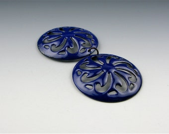 Enameled Pinwheel Filigree /  Cobalt blue enamel / Made to order
