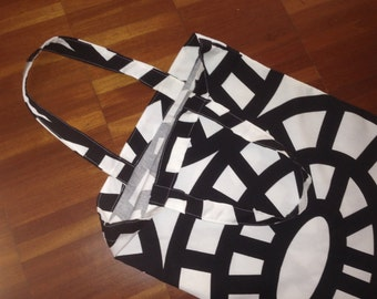 Retro heavy cotton shopping bag tote, Finland, black and white modern